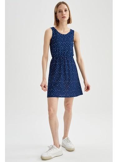 DeFacto Çiçek Desenli Yuvarlak Yaka Kolsuz Elbise Mavi